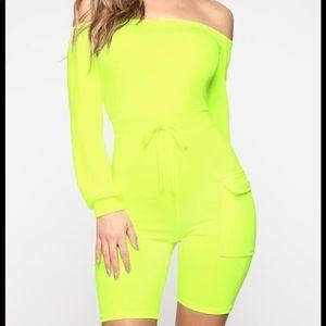 Neon Shorts Romper